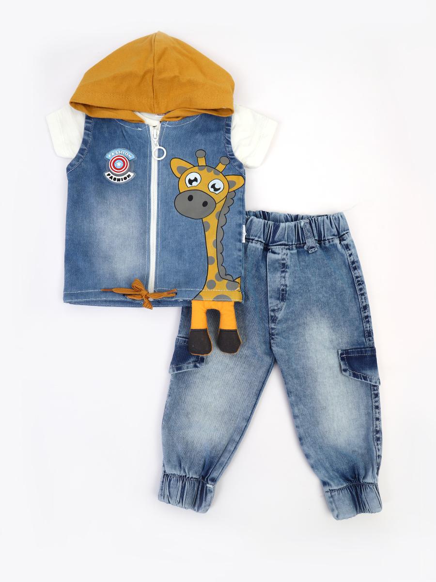 Комплект для мальчика: футболка, брюки джинсовые и жилет с эффектом света, цвет: горчичный
