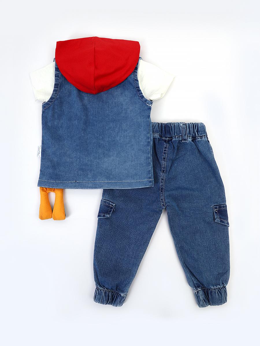 Комплект для мальчика: футболка, брюки джинсовые и жилет с эффектом света, цвет: красный
