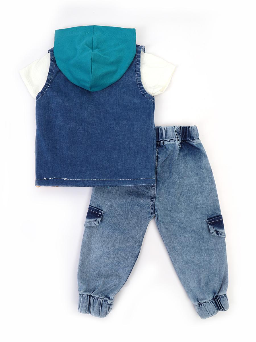 Комплект для мальчика: футболка, брюки джинсовые и жилет с эффектом света, цвет: бирюзовый
