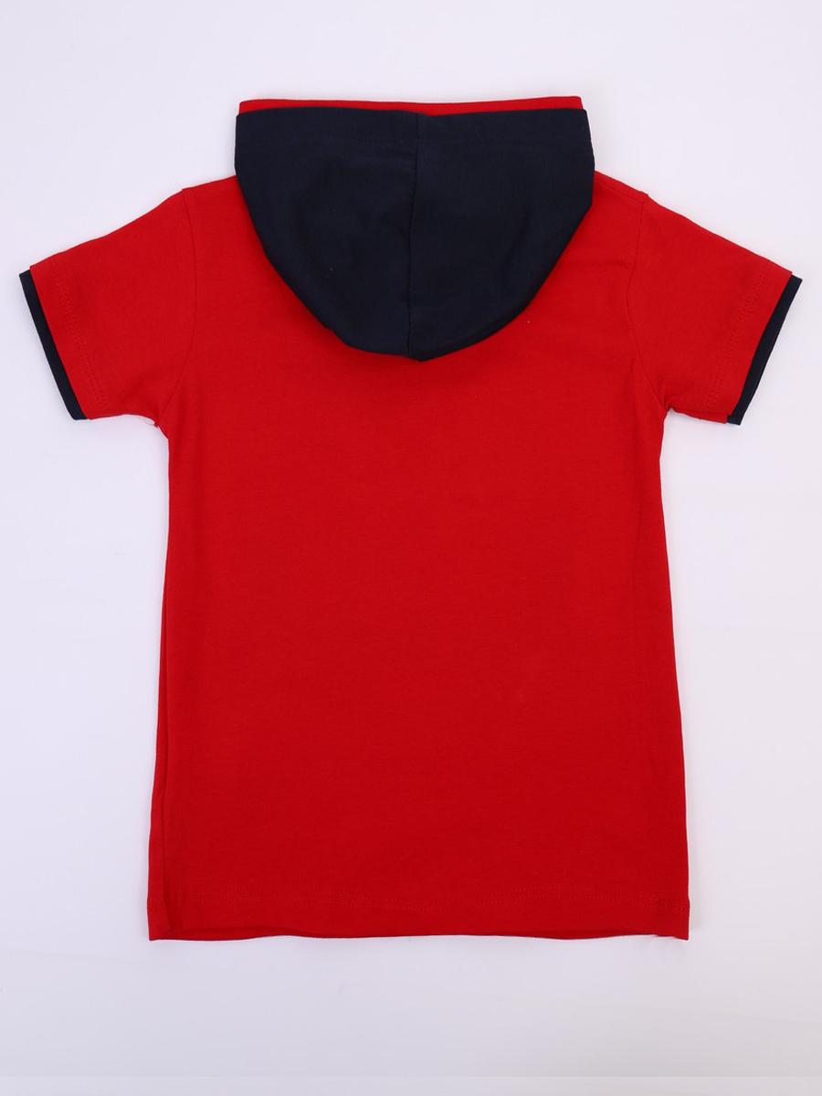 Комплект для мальчика: футболка, брюки джинсовые и жилет, цвет: красный