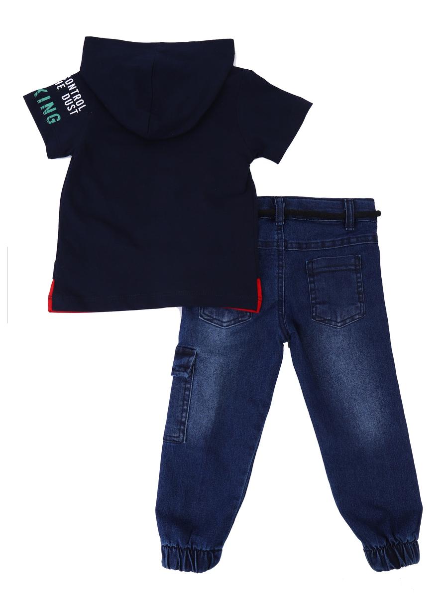 Комплект для мальчика: футболка и брюки джинсовые, цвет: темно-синий