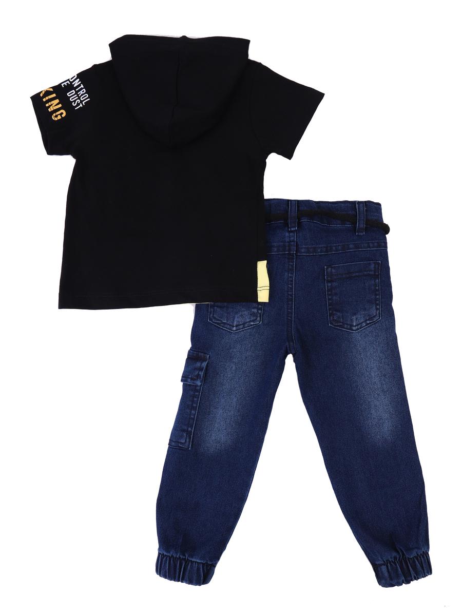 Комплект для мальчика: футболка и брюки джинсовые, цвет: черный