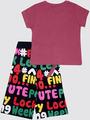 Комплект для девочки: футболка и капри, цвет: брусничный
