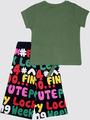 Комплект для девочки: футболка и капри, цвет: хаки