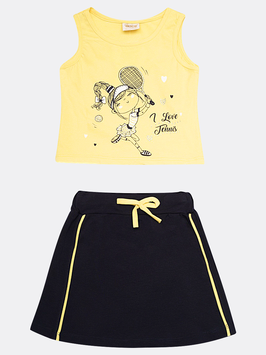 Комплект для девочки: майка и юбка, цвет: желтый