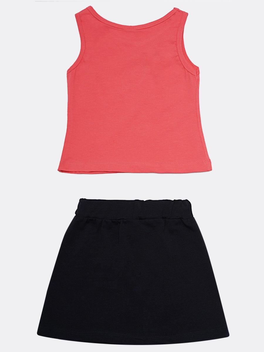 Комплект для девочки: майка и юбка, цвет: коралловый
