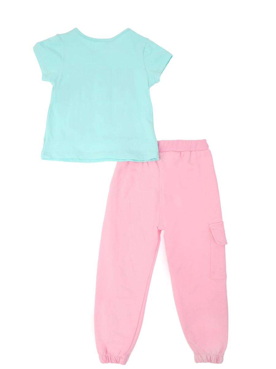Комплект для девочки: футболка и брюки, цвет: мятный