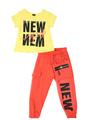 Комплект для девочки: футболка и брюки, цвет: желтый