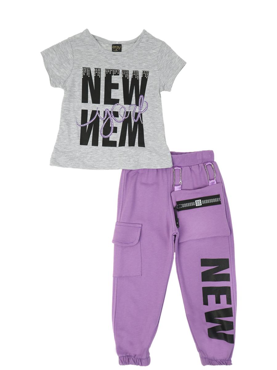 Комплект для девочки: футболка и брюки, цвет: серый меланж