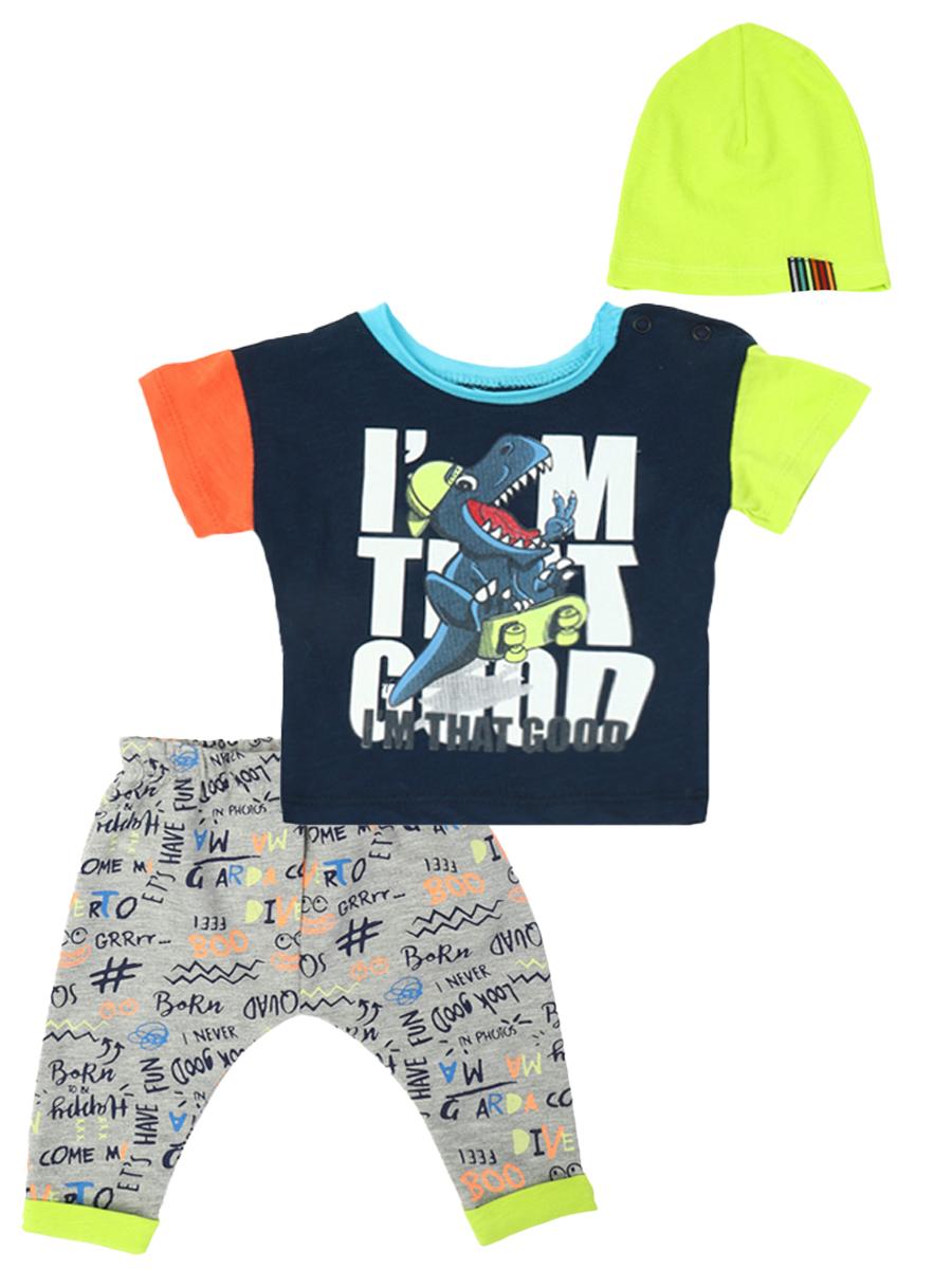 Комплект для мальчика: футболка, штанишки и шапочка, цвет: темно-синий