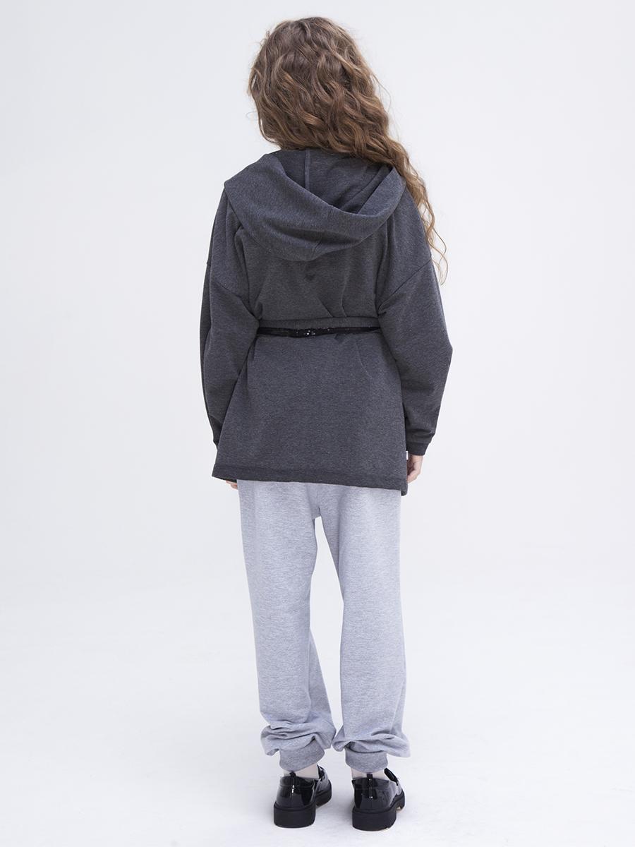 Кардиган трикотажный для девочки, цвет: темно-серый