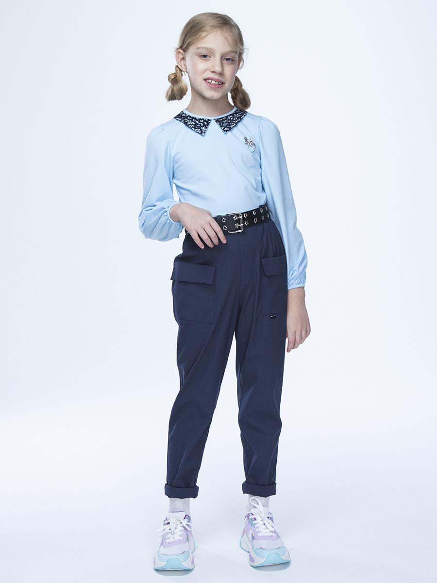 Блузка полуприлегающего силуэта, цвет: голубой