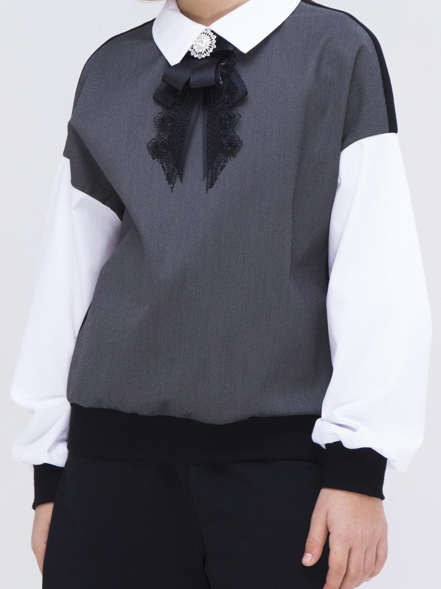Джемпер обманка для девочки, цвет: черный