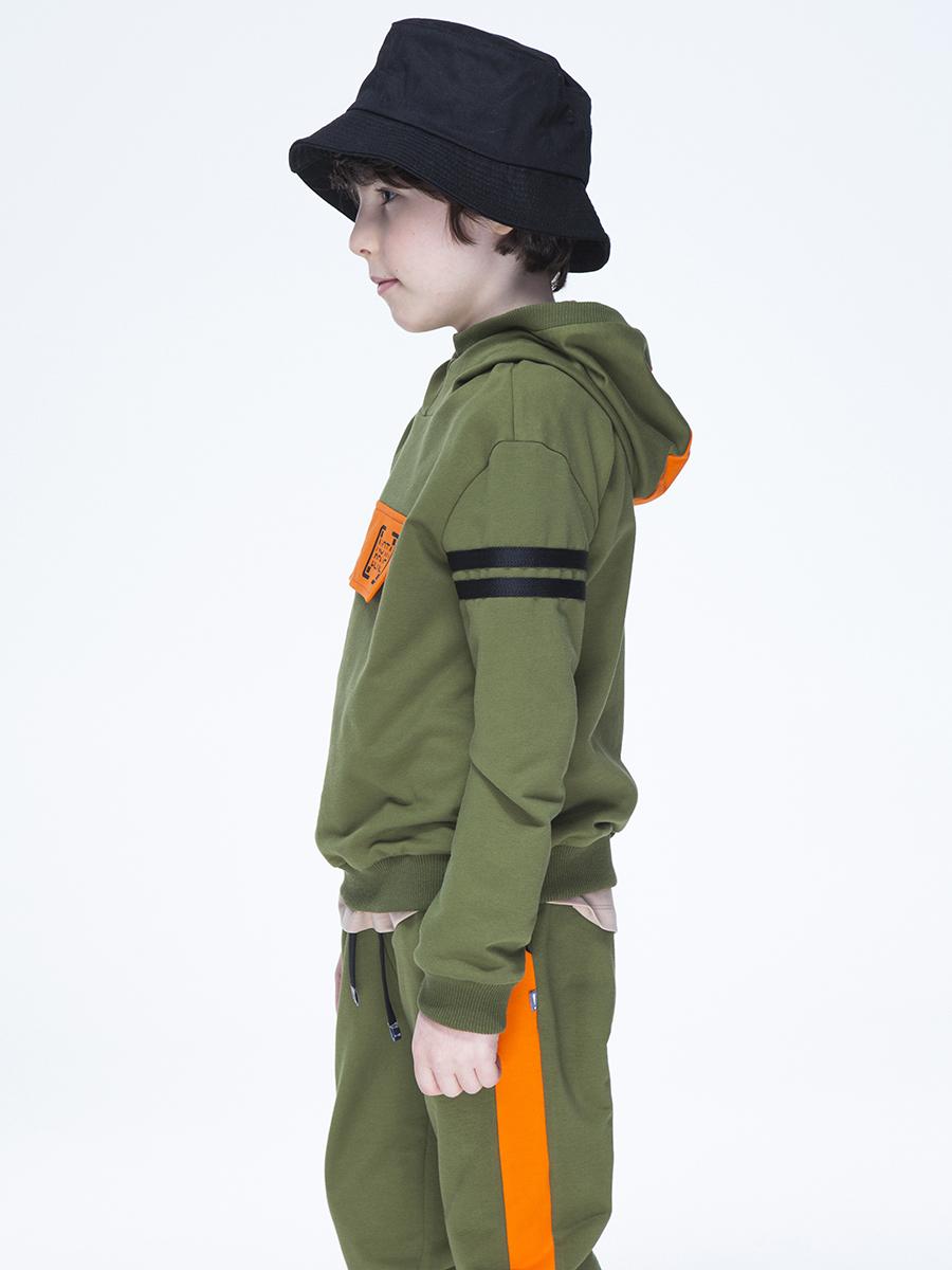 Костюм спортивный: толстовка и брюки джоггеры со средней посадкой, цвет: хаки