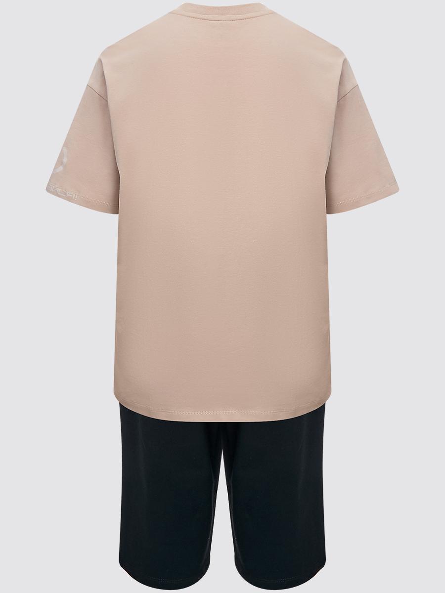 Костюм спортивный:футболка и шорты прямые со средней посадкой, цвет: кэмел