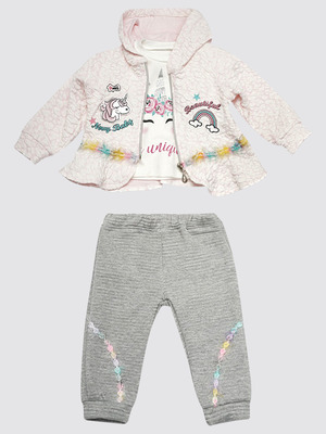 Комплект для девочки: кофточка, штанишки и жакет