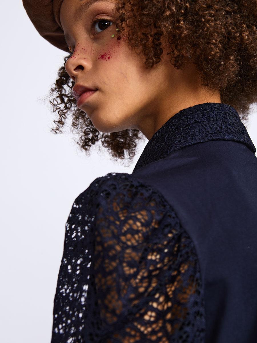 Блузка полуприлегающего силуэта, цвет: темно-синий