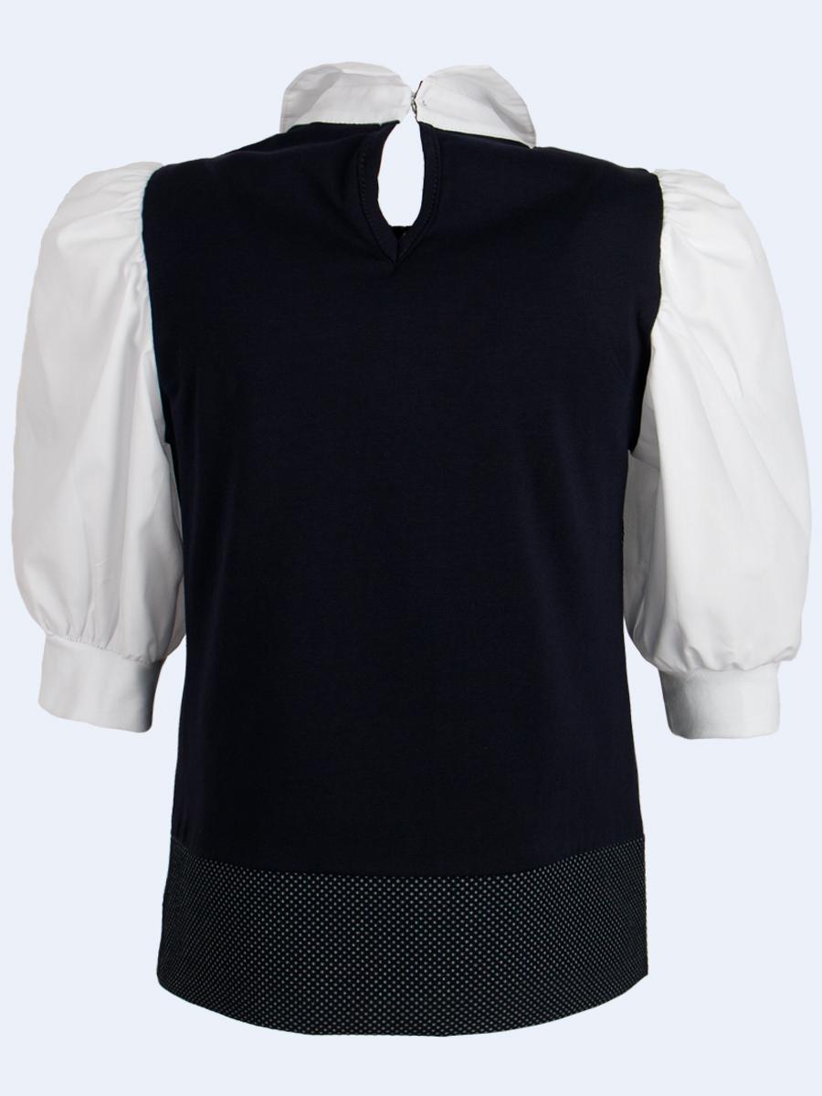 Блузка-обманка прямого силуэта, цвет: белый