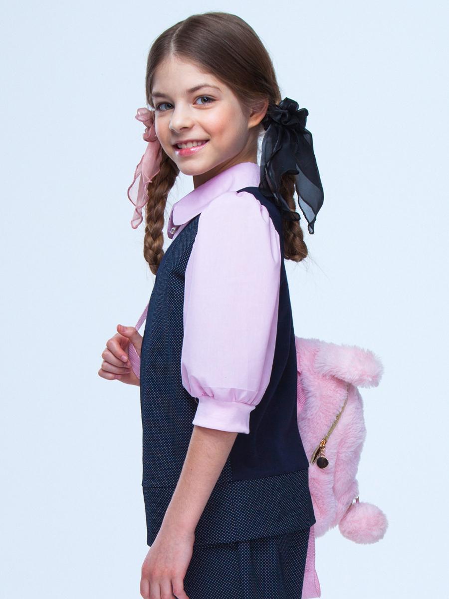 Блузка-обманка прямого силуэта, цвет: светло-розовый