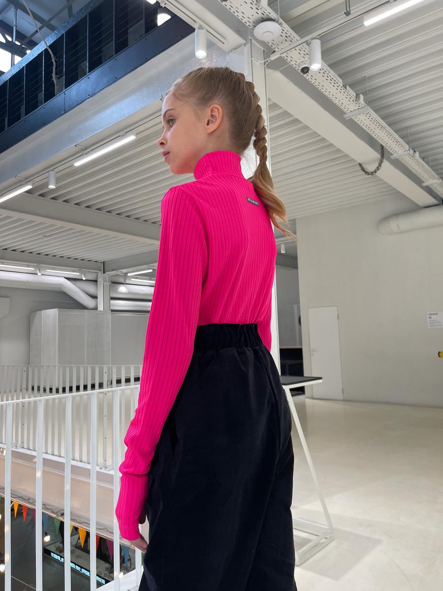 Водолазка для девочки, цвет: розовый неон
