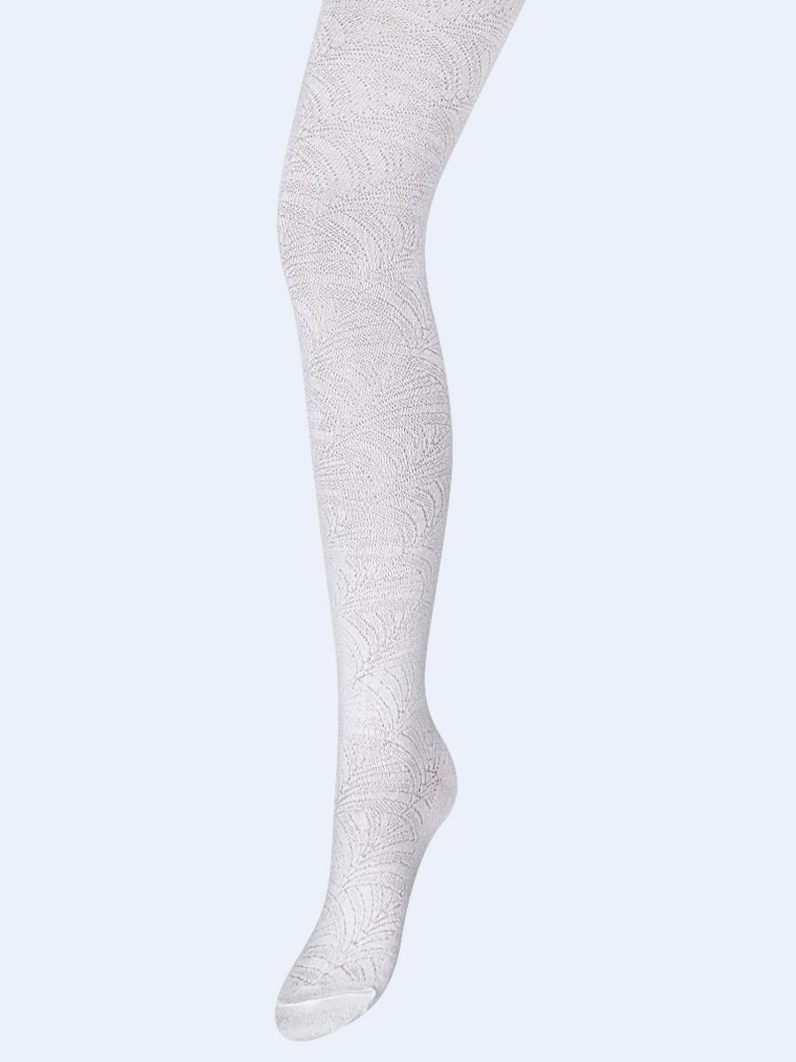 Колготки для девочки с ажурным рисунком по всей длине ножки, цвет: белый
