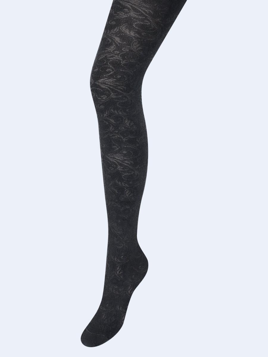Колготки для девочки с ажурным рисунком по всей длине ножки, цвет: темно серый