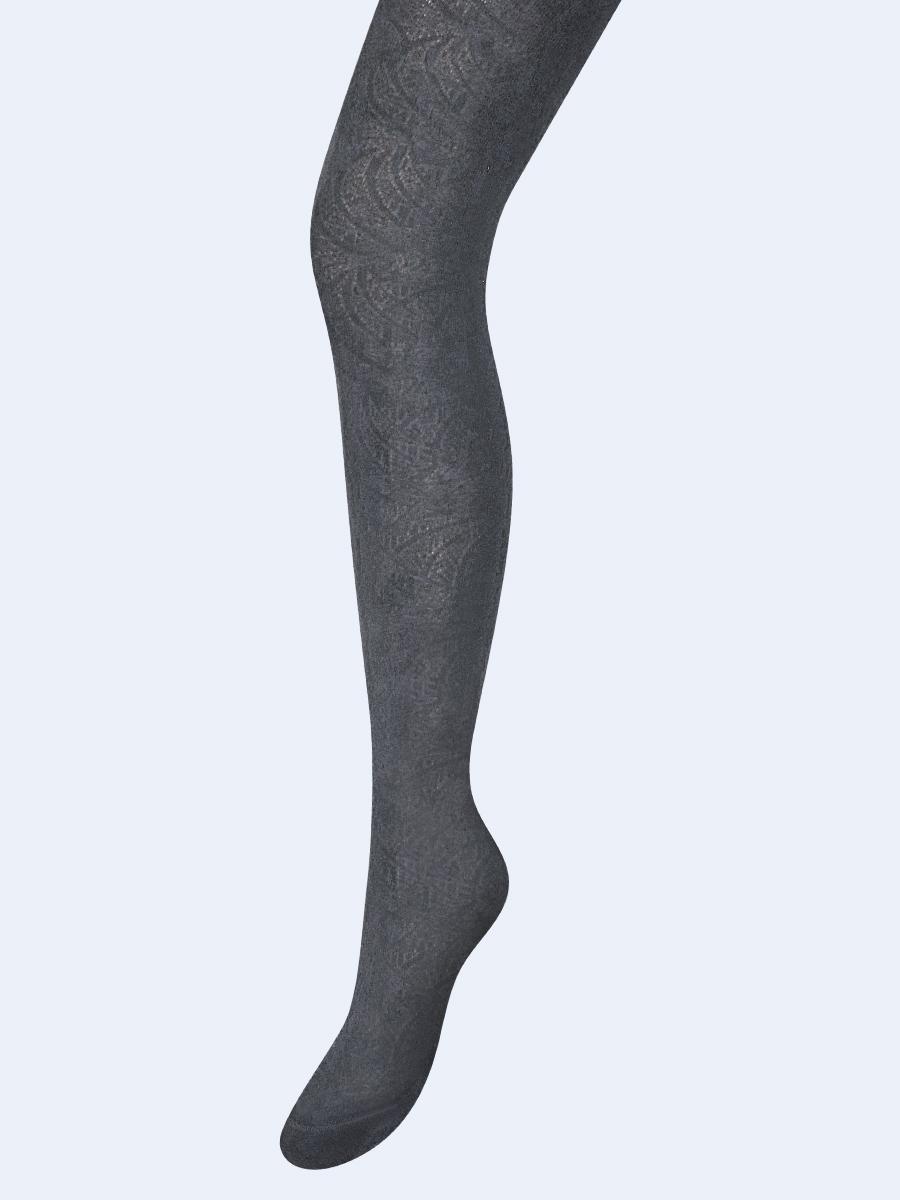 Колготки для девочки с ажурным рисунком по всей длине ножки, цвет: серый