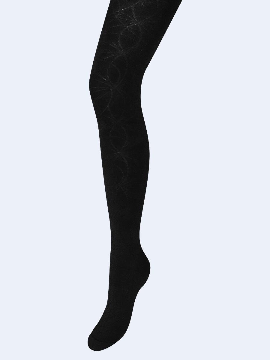 Колготки для девочки с ажурным рисунком по всей длине ножки, цвет: черный