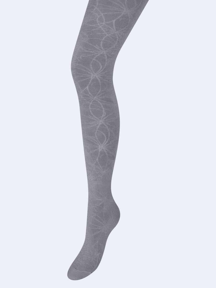 Колготки для девочки с ажурным рисунком по всей длине ножки, цвет: светло-серый