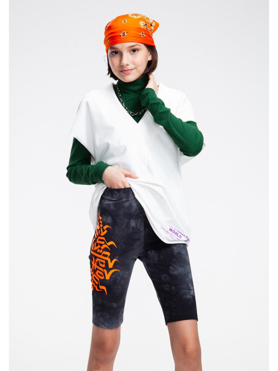 Бриджи укороченные со средней посадкой для девочки Тай-Дай, цвет: черный