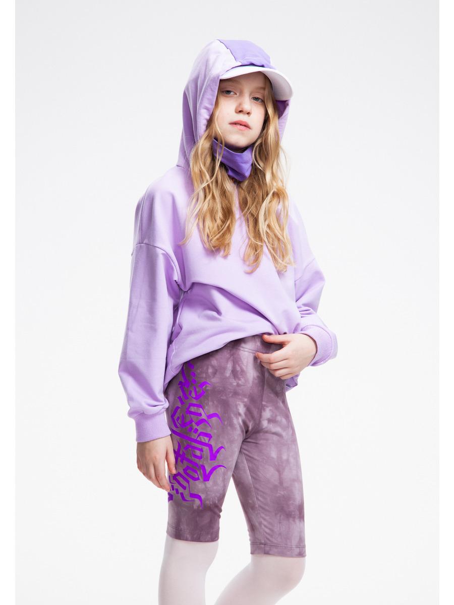 Бриджи укороченные со средней посадкой для девочки Тай-Дай, цвет: лиловый