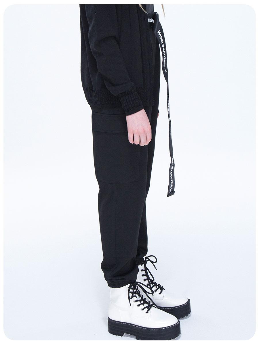 Брюки карго с завышенной талией для девочки, цвет: черный