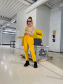 Брюки бананы с завышенной талией для девочки, цвет: шафрановый
