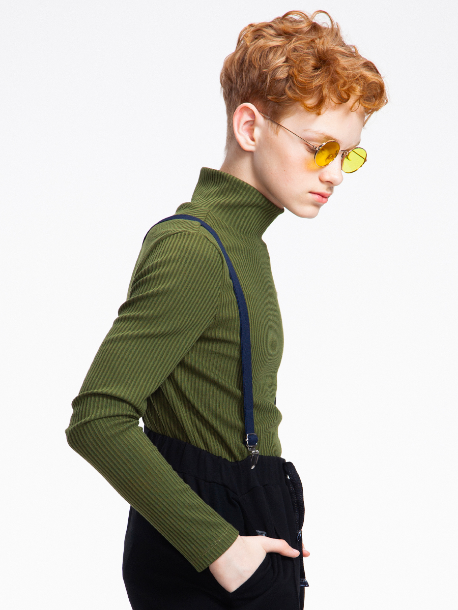 Водолазка для мальчика, цвет: темно-оливковый