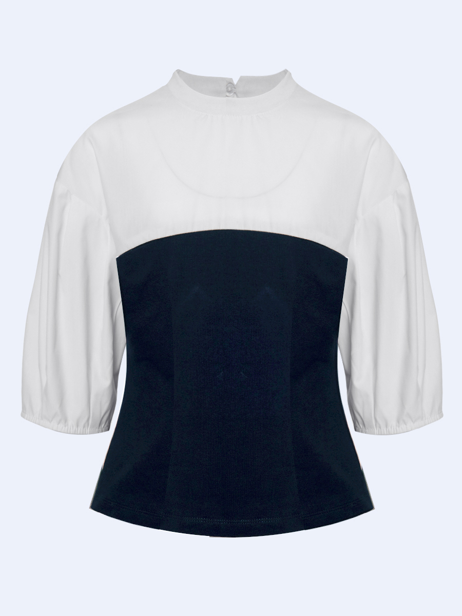 Блузка трикотажная, цвет: белый