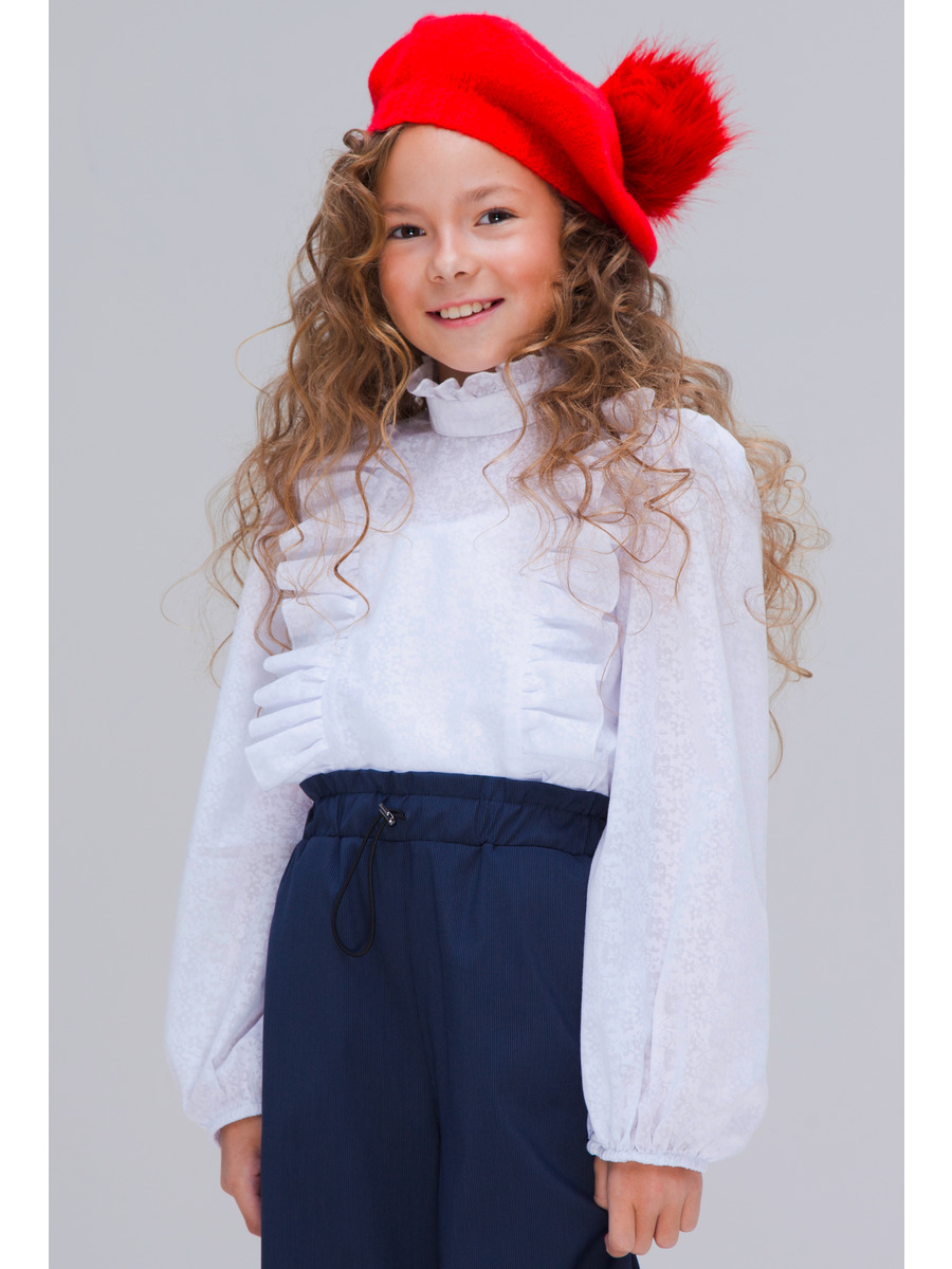 Блузка прямого силуэта, цвет: белый
