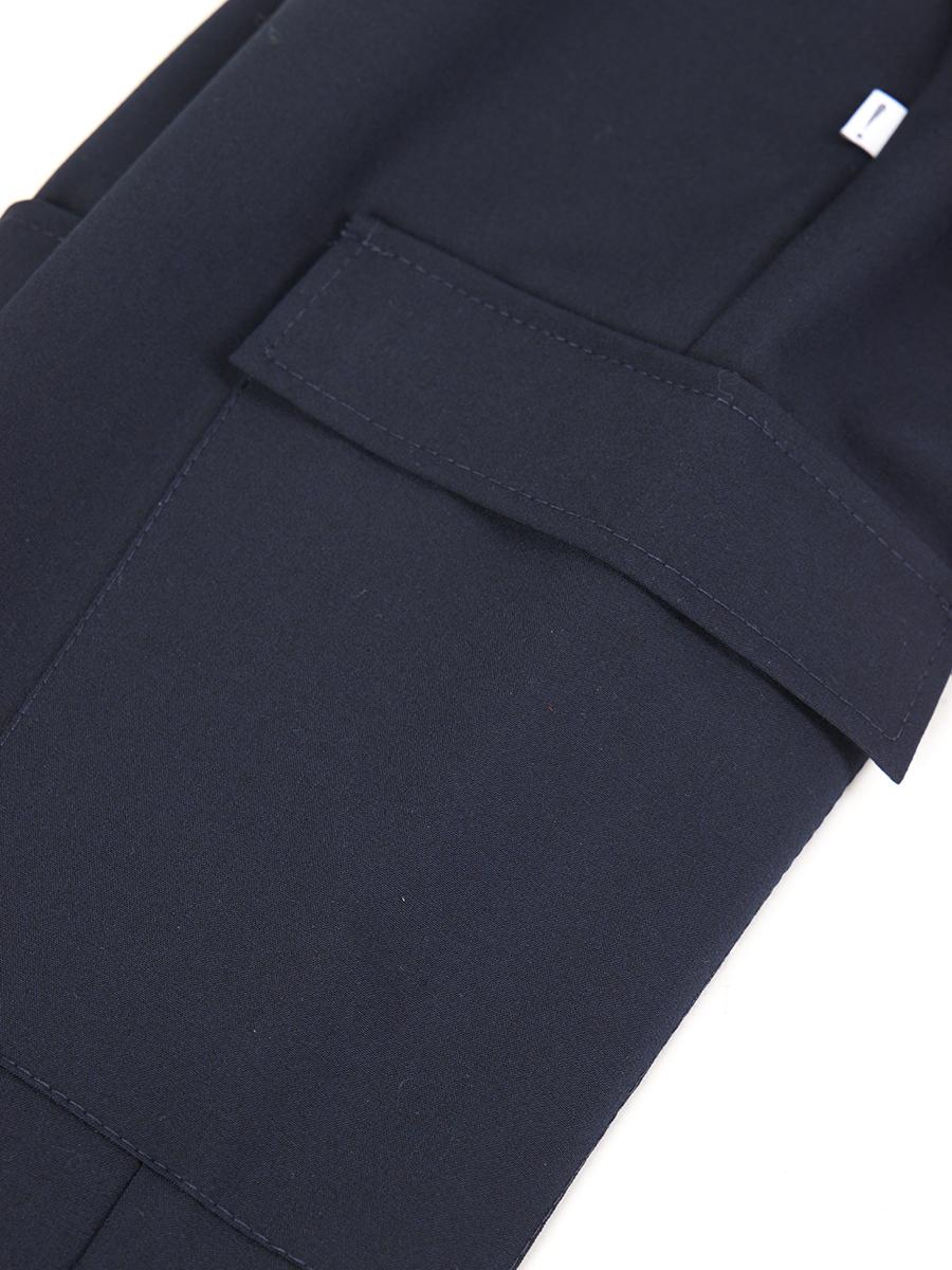 Брюки карго с завышенной талией для девочки, цвет: синий