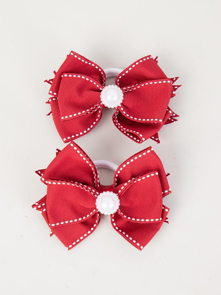 Бант-резинка, пара 9см, цвет: красный