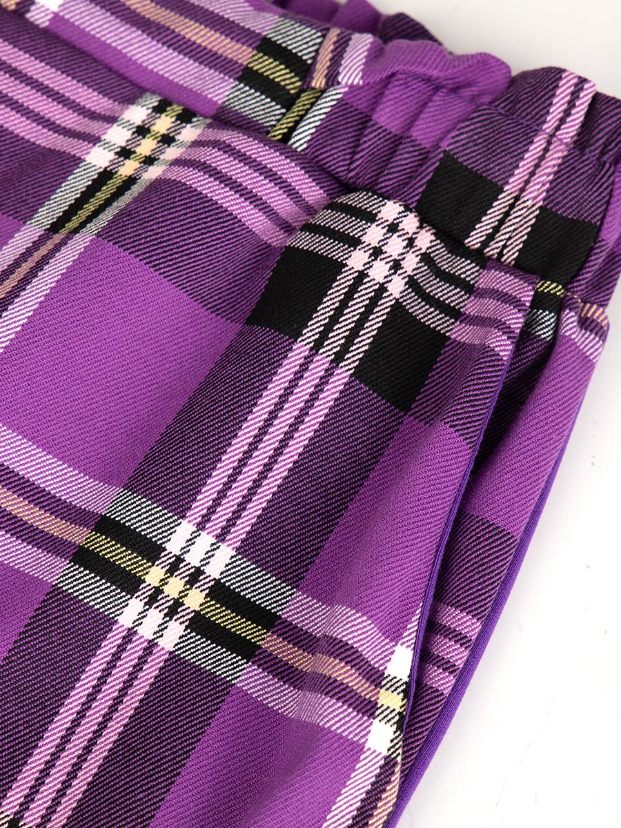 Брюки зауженные с завышенной талией для девочки, цвет: глубокий фиолетовый