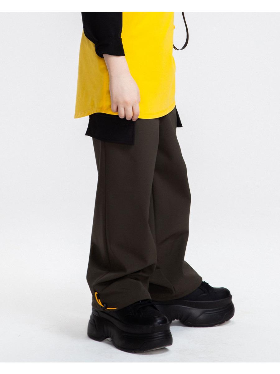 Брюки широкие со средней посадкой для мальчика, цвет: хаки