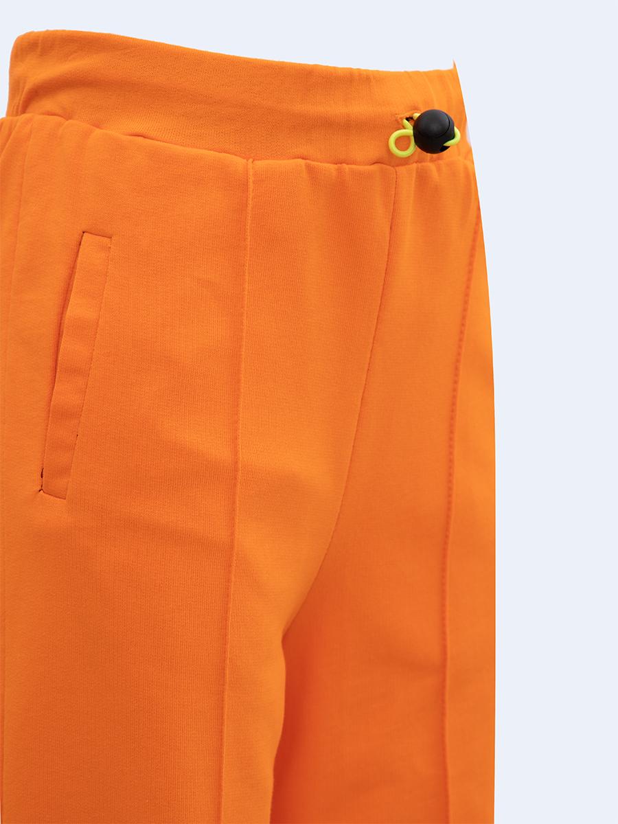 Брюки широкие с завышенной талией для девочки, цвет: оранжевый