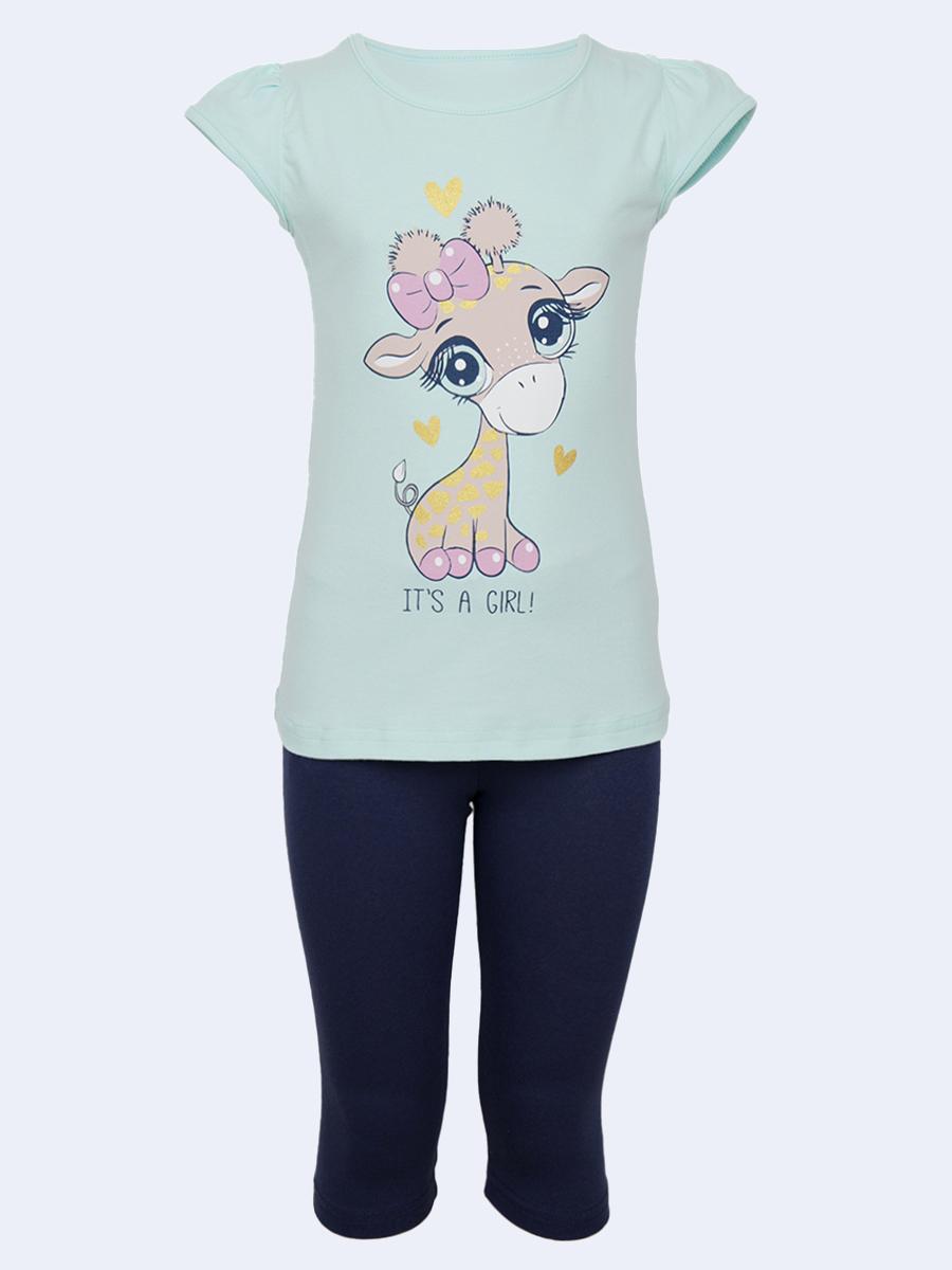Комплект для девочки: туника и лосины, цвет: мятный