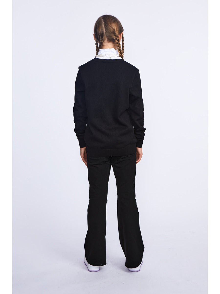 Кардиган вязаный для девочки, цвет: черный
