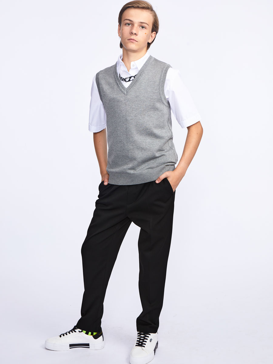 Жилет для мальчика, цвет: светло-серый