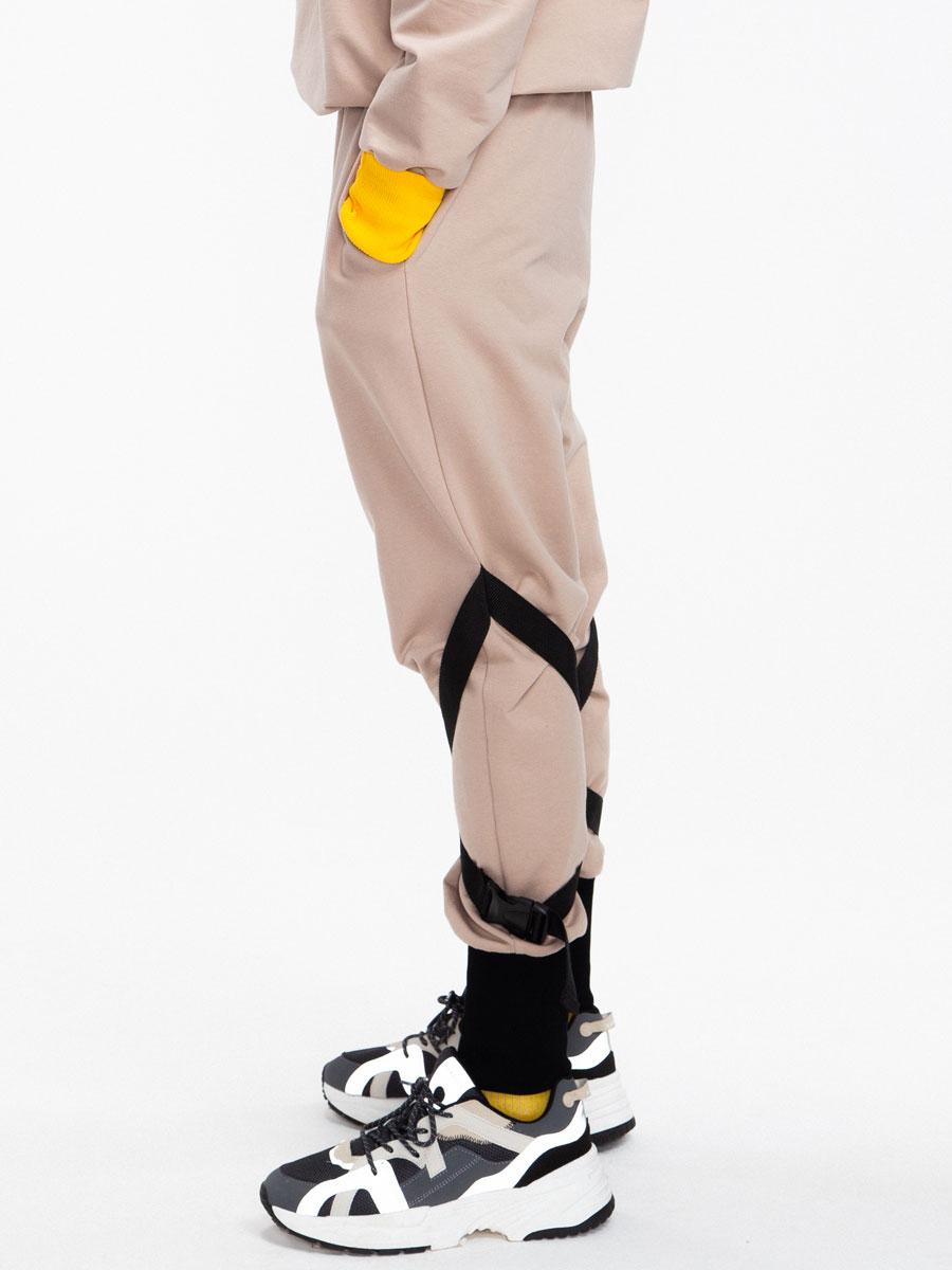 Брюки джоггеры со средней посадкой для мальчика, цвет: кэмел