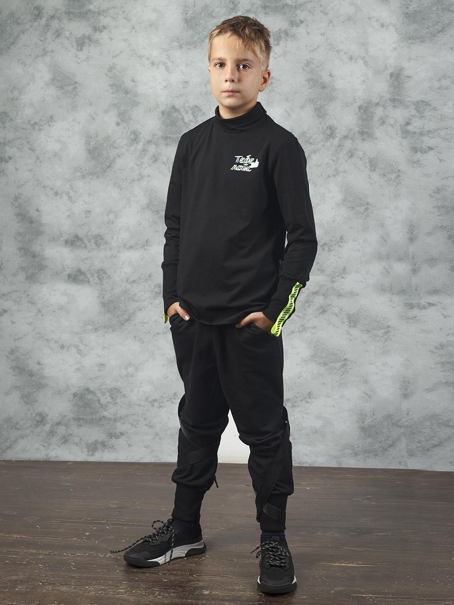 Брюки джоггеры со средней посадкой для мальчика, цвет: черный