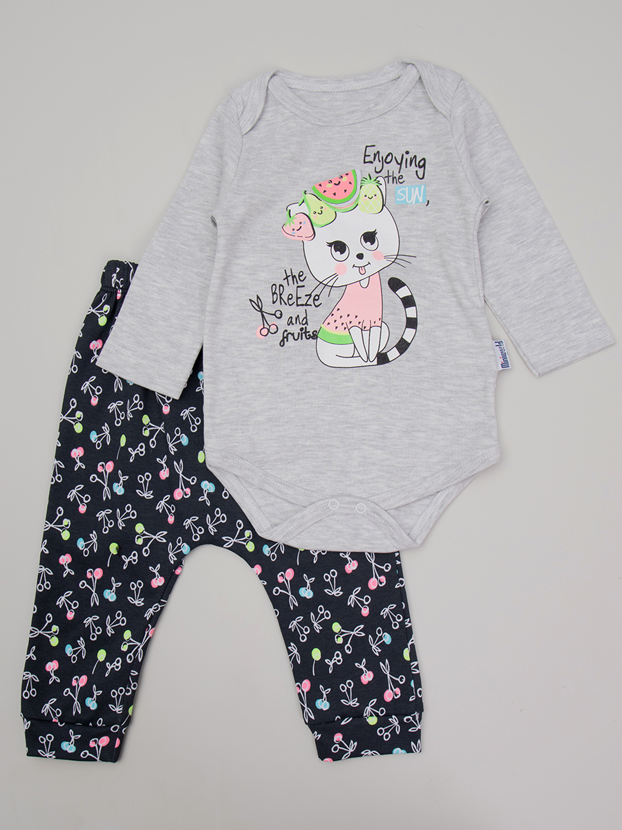 Комплект для девочки: боди, ползунки, цвет: серый меланж