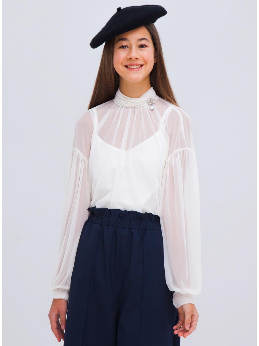 Блузка свободного силуэта, цвет: белый