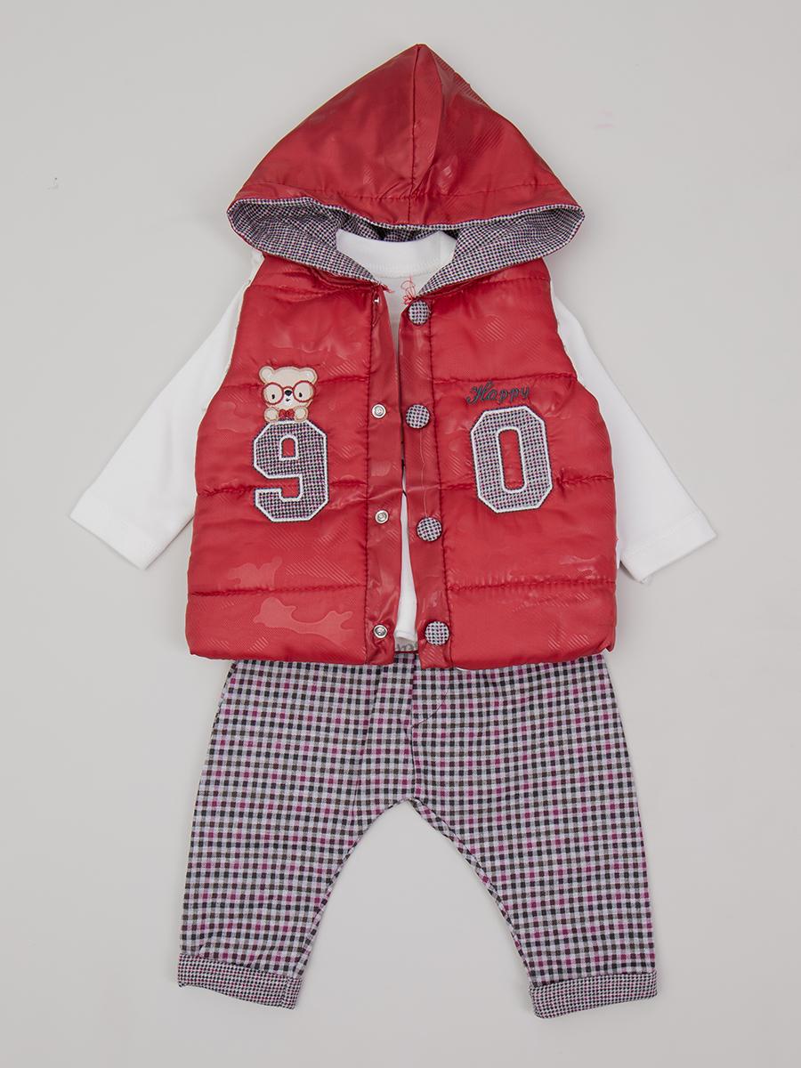 Комплект для мальчика: лонгслив, штанишки и болоньевый жилет на синтепоне, цвет: бордовый
