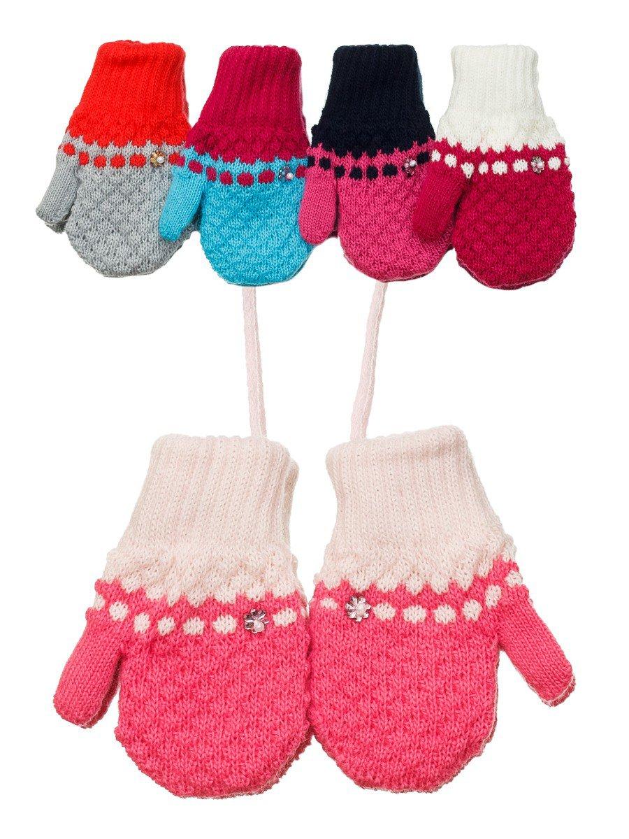 Варежки двойной вязки для девочки